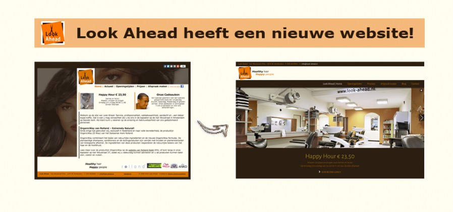 Screen shots van oude en nieuwe website van Kapsalon Look Ahead