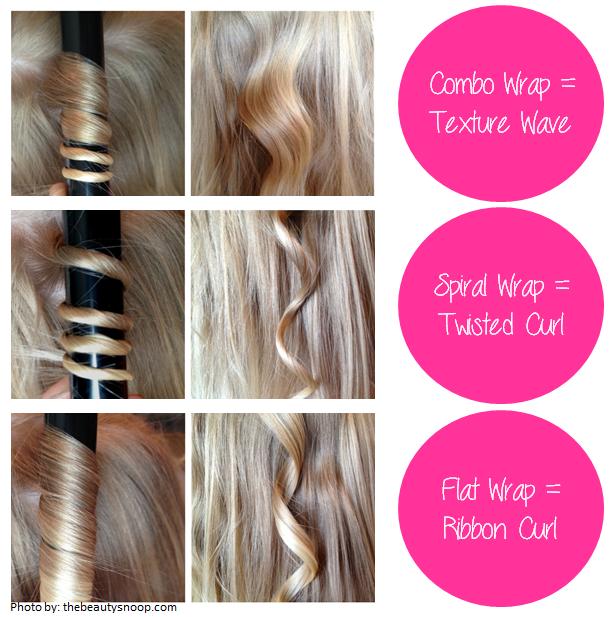 Krullen met de stijltang: Combo Wrap = Texture wave, Sprial wrap = Twisted curl, Flat wrap = Ribbon curl